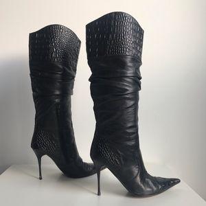 Aldo Shoes - Black Leather Stiletto Knee High Boots Size 36